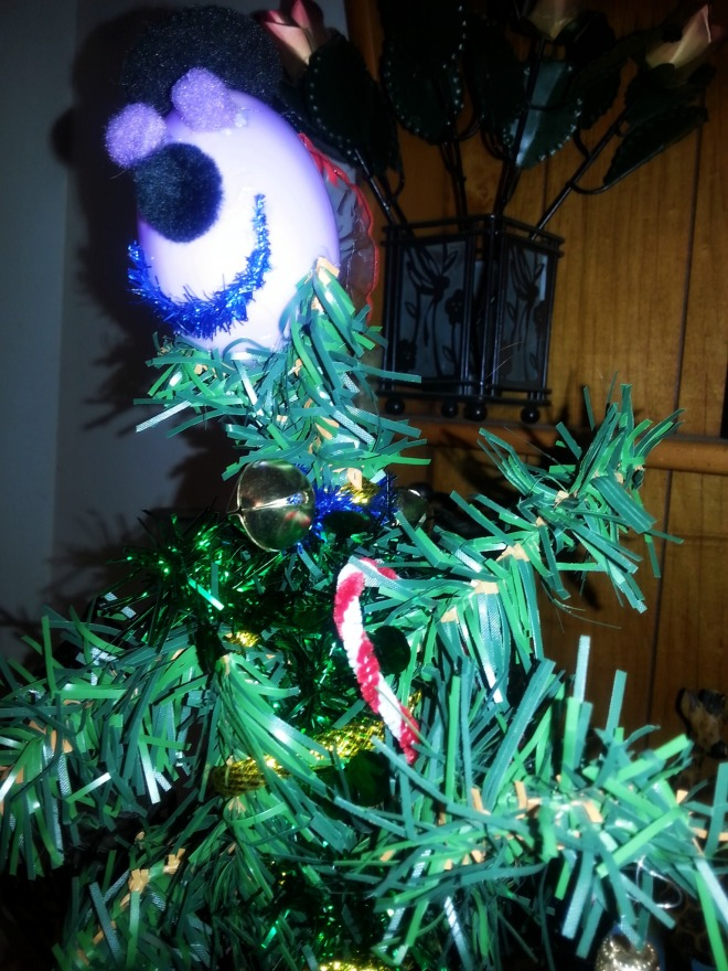 The tree Jeremy made at Youth Group - the top is vivid purple.