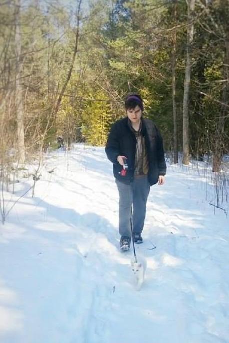 walking Lara at Cedar Valley