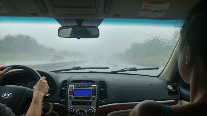pouring rain on the way to the spa